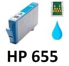 HP 655 XL Cyan prémium utángyártott legújabb  chipes tintapatron (600 old), CZ110