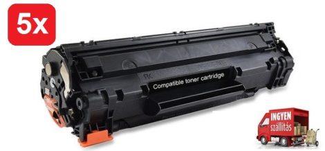 5db# HP CB436A / 36a (P1505, M1120 stb.) utángyártott toner csomag #5db + ingyenes kiszállítással.