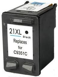HP 21 XL C9351A/C9351CE XL kapacitású fekete-black prémium utángyártott tintapatron, patron - hewlett packard