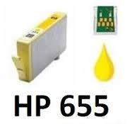 HP 655 XL Yellow prémium utángyártott legújabb chipes tintapatron (600old), CZ112